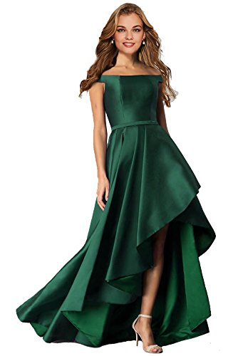 Lily Wedding Womens Satin Off Shoulder High Low Prom Dresses 2018 Long Formal Evening Ball Gowns D108 Emerald Green Size 10