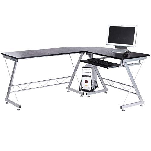 Tenive Ergonomic Corner Office Computer Desk Workstation -L Shaped Computer Desk Home Furniture, 67 Black