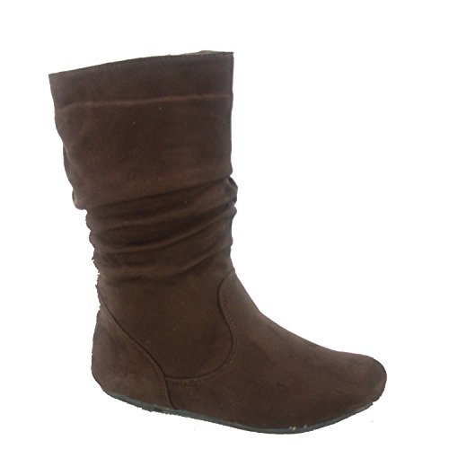 4 Heel Shoes (Lucky Top Dat-1k Girl's Youth Kids Fashion Round Toe Flat Heel Slouch Zipper Boots Shoes (4 B(M) US, Brown))
