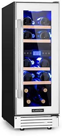 Klarstein Vinovilla 17 - Nevera para vinos, 2 zonas, 53 litros, 17 botellas, 30 cm de ancho, Puerta acristalada, Iluminación de 3 colores, 4 baldas de madera de haya, No vibra, Control táctil, Blanco[Clase de eficiencia energética G]