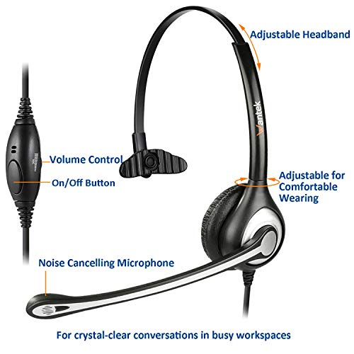 Wantek Wired Cell Phone Headset Mono with Noise Canceling Mic and Adjustable Fit Headband for iPhone Samsung Huawei HTC LG ZTE BlackBerry Mobile Phone and Smartphones with 3.5mm Jack(F600J35) 4
