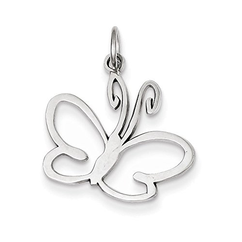 Jewelry Adviser Charms 14k White Gold Butterfly Charm