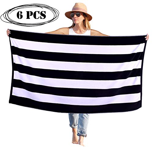 Peach B&C - Beach Towel Cabana Terry Velour Soft Turkish Cotton - Extra Absorbent - Quick Fast Drying - Sand Free - Perfect for Beach Bath Travel Pool Sports Spa Swimming (6, Black)