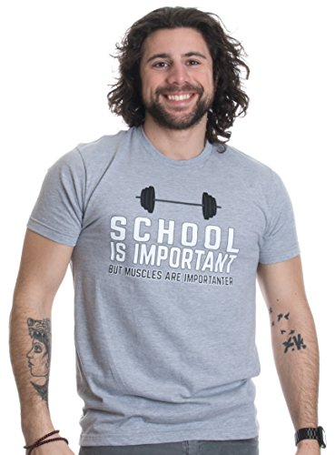 Ann Arbor T-shirt Co. School is Important, but Muscles are Importanter | Funny Body Building T-shirt-(Adult,2XL)