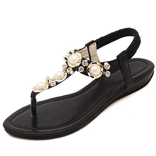 Zapatos de verano en la playa Diamante BEAD hembra con sandalias planas  sandalias Negro d2bcca243554