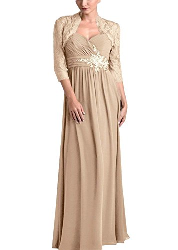 tutu.vivi Women's Chiffon 2 Pieces Mother of The Bride Dresses with Lace Jacket Pleated Long Evening Gown Champagne Size12
