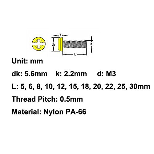 Black Electronics-Salon 100pcs M3 x 25mm Nylon Machine Screw Pan Head Metric Combination Phillips-Slotted Drive