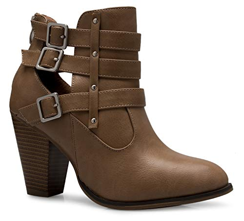 OLIVIA K Women's Classic Stacked Wood Heel with Side Zipper Enclosure - Adjustable Ankle Straps with Buckle - Outfit Booties