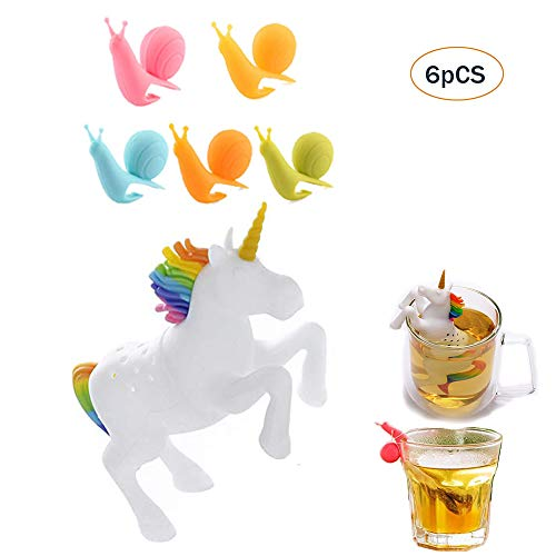 (Tea Filters Unicorn Tea Infusion Tea Strainer Cute Horse Infuser Tea Steeper 5PCS Snail Shape Silicone Wine Glass Tag Tea Holders Suitable for Family Parties Office Supplies 6PCS)