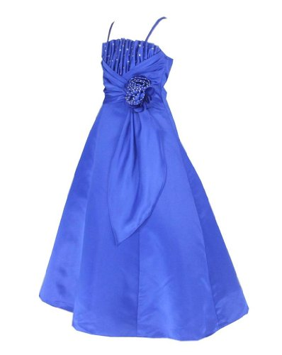 Satin Occasion Pageant Wedding Bridesmaids Girls Dress Royal Blue 12 Years (RB6001-12#)