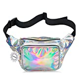 WODODO Fanny Pack for Women Party Waist Festival Money Belt Leather Pouch Concert Holographic Wallet Bum Bag Tote