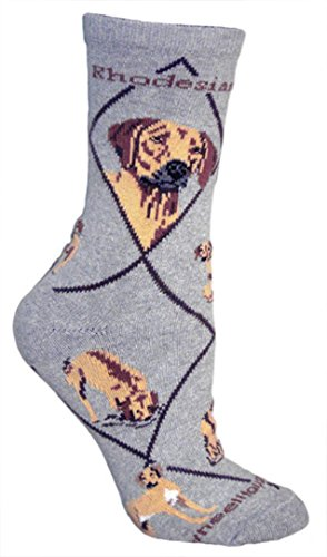 Rhodesian Ridgeback on Gray Ultra Lightweight Cotton Crew Socks - Made in USA