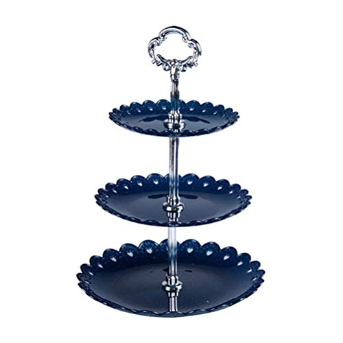 GZQ Cake Display Stand Three-layer Fruit Plate Dessert Vegetable Storage Rack Food Cupcake Candy Display Holder for Wedding Home Birthday Parties (Blue) -