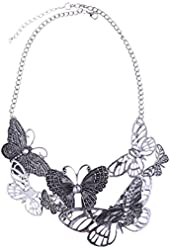 Qiyun (TM) Hollow Out Butterfly Antique Silver Festoon Bib Choker Collar Necklace
