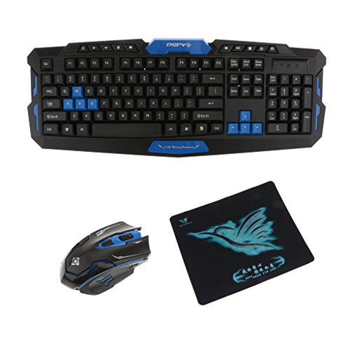 Jili Online Waterproof USB 2.4GHz Wireless Keyboard&Mouse Combo With Mouse Pad for Mac Black&Blue by Jili Online