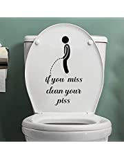"""Toilet Sticker,Funny """"If You Miss, Clean Your Piss""""Sign Bathroom Toilet Decal,Removable Self Adhesive Art Toilet Decal Creative DIY Toilet Lid Decals for Restroom Toilet Washroom (Black)"""