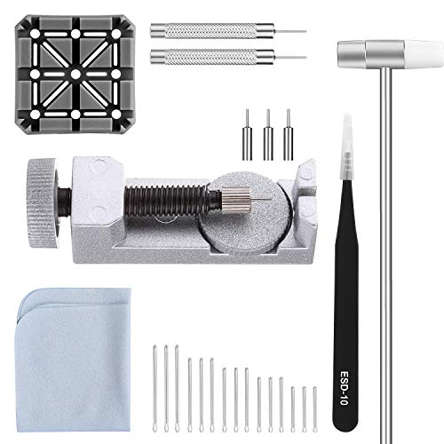 (Watch Band Strap Link Pins Remover Repair Tool,24 in 1 Kit with 3 Extra Tips Replacement,20PCS Cotter Pin,1PCS Holder,1PCS Head Hammer,1PCS Tweezers,1PCS Glasses Cloth)