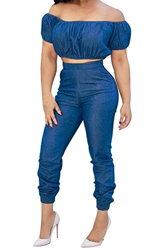 2 Piece Denim Set (YONYWA Women's Denim Off Shoulder High Waist Jumpsuit Two Pieces Set Crop Top Pants Suit Jeans Outfits)