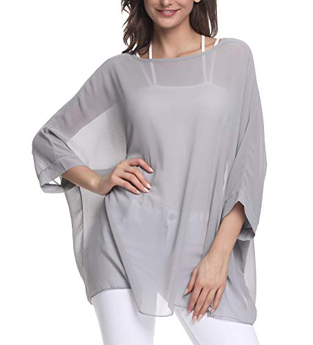 Myosotis510 Women's Chiffon Caftan Poncho Tunic Top Cover up Batwing Blouse (Z-4307) ()