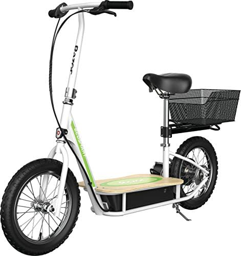 """Razor EcoSmart Metro Electric Scooter – Padded Seat, Wide Bamboo Deck, 16"""" Air-Filled Tires, 500w High-Torque Motor, Up to 18 mph, 12-Mile Range, Rear-Wheel Drive"""