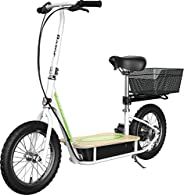 """Razor EcoSmart Metro Electric Scooter – Padded Seat, Wide Bamboo Deck, 16"""" Air-Filled Tires, 500w High-To"""