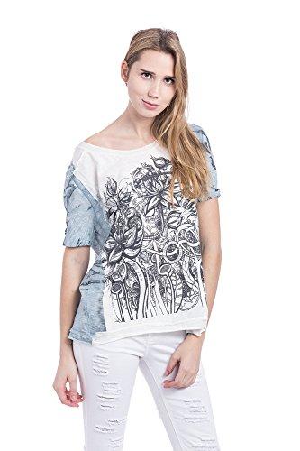Abbino L5cF71d Camisetas Tops Camisas para Mujer - Hecho en ITALIA - 4 Colores - Entretiempo Primavera Verano Otoño Casual Chica Vintage Fiesta Elegantes Fitness Rebajas Manga Corta Clásico Azul