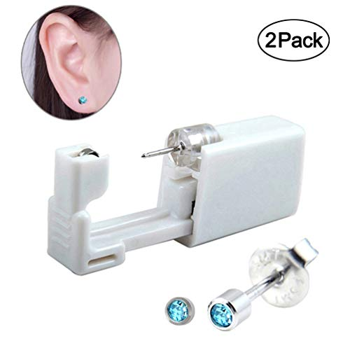 2 PCS Disposable Ear Piercing Gun, No Pain Safety Unit Tool With Ear Stud Asepsis Pierce Kit (205 Mini Blue CZ)
