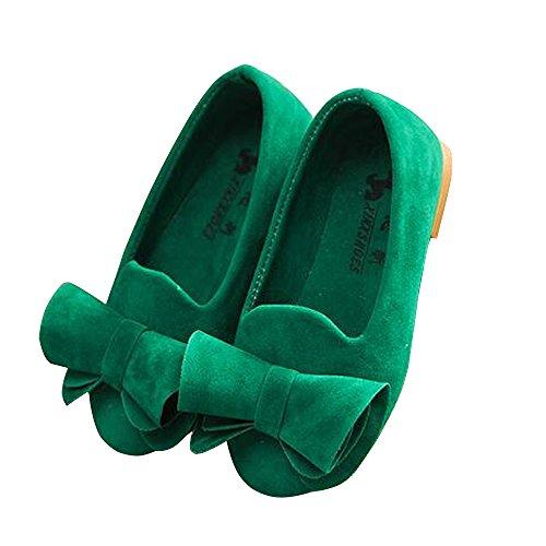 BININBOX Girls Bowknot Flat Shoes Princess Girls Dress Shoes Kids (11.5 M US Little Kid, Green) -