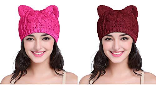 v28 Women Men Girls Boys Teens Cute Cat Ear Knit Cable Rib Hat Cap Beanie (Pack2(Rose+Wine))