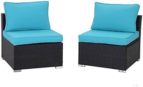 GREARDEN 2PCS PE Rattan Wicker Sofa Sets Patio Furniture Set Outdoor Sectional Coversation Sofa Set Review