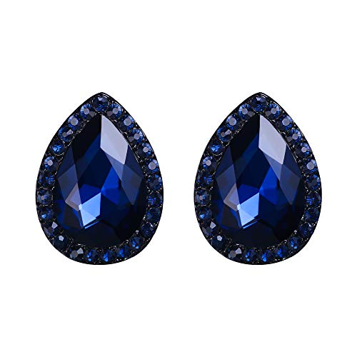 - EVER FAITH Women's Austrian Crystal Wedding Teardrop Pierced Stud Earrings Navy Blue Black-Tone