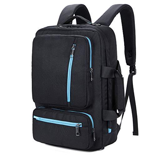 ptop Backpack 17 Inch, Multifunctional Travel Computer Bag Rucksack Shoulder Briefcase Messenger Bag Hiking Knapsack College School Notebook Bag for Men/Women, Black-Blue ()