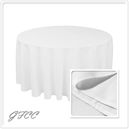 GFCC 96 Round 240cm White Polyester Tablecloth Durable Wedding Decoration Tablecloth