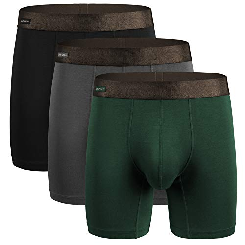 David Archy Men's 3 Pack Underwear Ultra Soft Comfy Breathable Bamboo Rayon Basic Boxer Briefs No Fly (L, Black/Dark Gray/Olive Green)