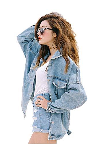 Jeans Giacca Donna Ragazza Vintage Capispalla Autunno Moda Oversize Cappotto Parka Giubbotto Boyfriend Corta Steampunk Casual Cardigan Blazer Turchese Denim C Jacket Outwear Inverno Giacche Eleganti Tumblr Stile rrd5Hqx