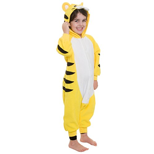 [Silver Lilly Kids Tiger Animal Costume - Childrens Plush One Piece Pajamas (Y)] (Animals Dressed Up In Halloween Costumes)
