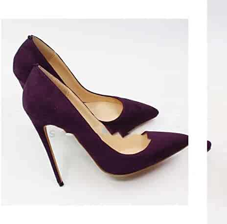 61b8ea58d81 HANBINGPO Suede Pointed Toe Stiletto Heels Dress Pumps Shallow Slip-on 12cm  Ultra High Heel