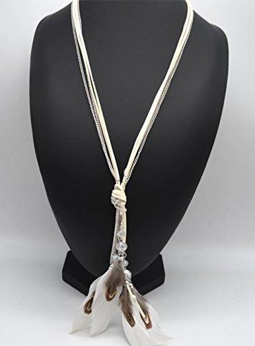 CL1448F - Sautoir Collier Cordons Pendentif Plumes Ethnique et Perles Blanc