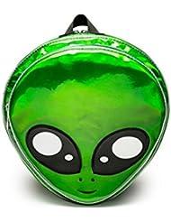 Flada Alien Head Backpack PVC Hologram Women Backpack Purse Casual Shoulder Bag