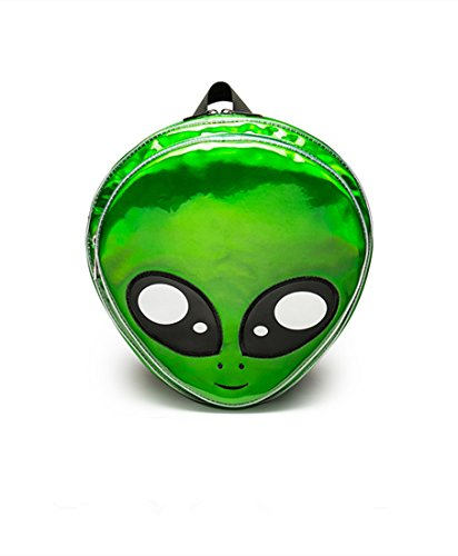 - Flada Alien Head Backpack PVC Hologram Women Backpack Purse Casual Shoulder Bag Green