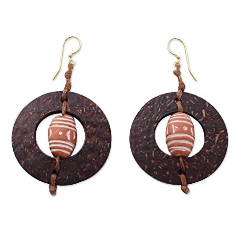 NOVICA Coconut Shell and Ceramic Dangle Earrings, Medieval Hoops