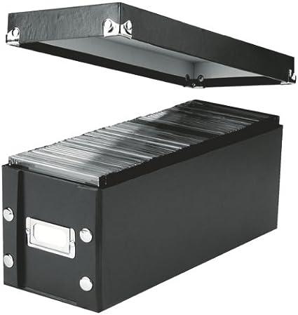 Leitz 60640095 - Caja para CDs (36 x 14,5 x 13,5 cm), color negro: Amazon.es: Oficina y papelería