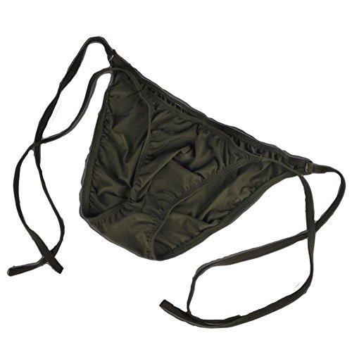 GO2SEXY Men's ice Silk Bikini tie String Thong Briefs Tie Shorts Underwear (Black)