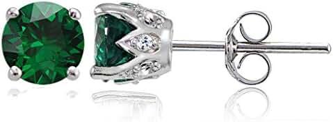 Sterling Silver Genuine, Created or Simulated Gemstone Crown Stud Earrings