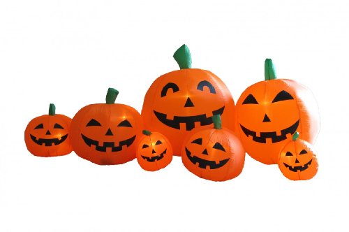 7.5 Foot Long Inflatable Halloween Pumpkins (Cute Halloween Yard Decoration Ideas)