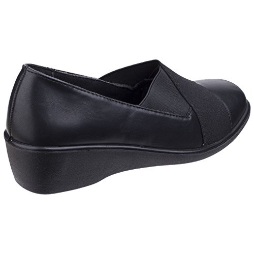 Fleet Foster On Black Shoes Limba Elasticated amp; Slip Womens Court Ladies OORxrfFq5w