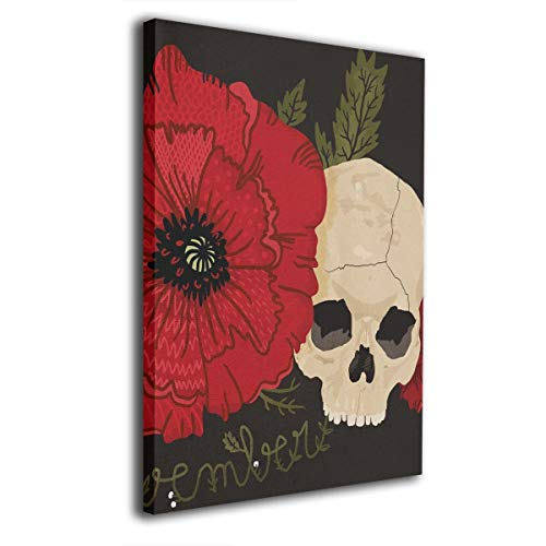 Baerg Rose Skull Frameless Decorative Painting Wall Art for Home and Office Decorations -