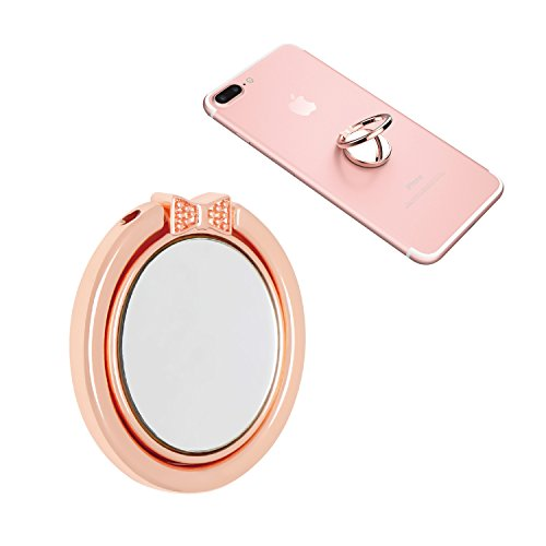 NOPNOG Finger Ring Stand Cell Phone Holder Grip Mirror Design 360° Adjustable for iPhone X/8/7/plus Samsung Galaxy S7/ S8 Moto Lg Google Pixel Xl/ Nexus 6/ 6p Htc Smartphone (Rose Gold)