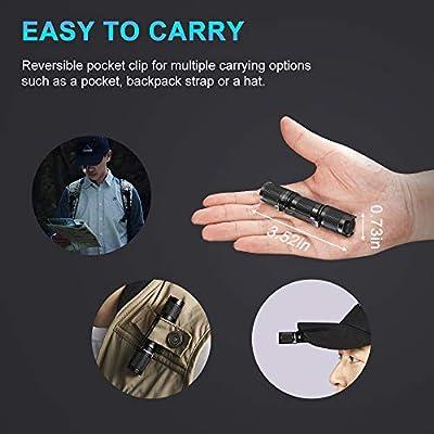 TOOL AA 2.0 EDC Flashlight Pocket Sized Keychain Super Bright 650 Lumens 5 Black
