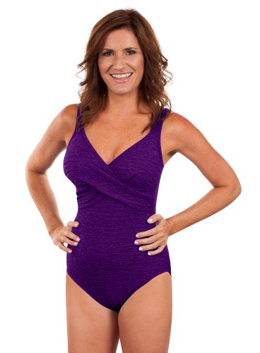 Krinkle Missy Twist Front Tank Acai Purple - Chlorine Proof Swimwear